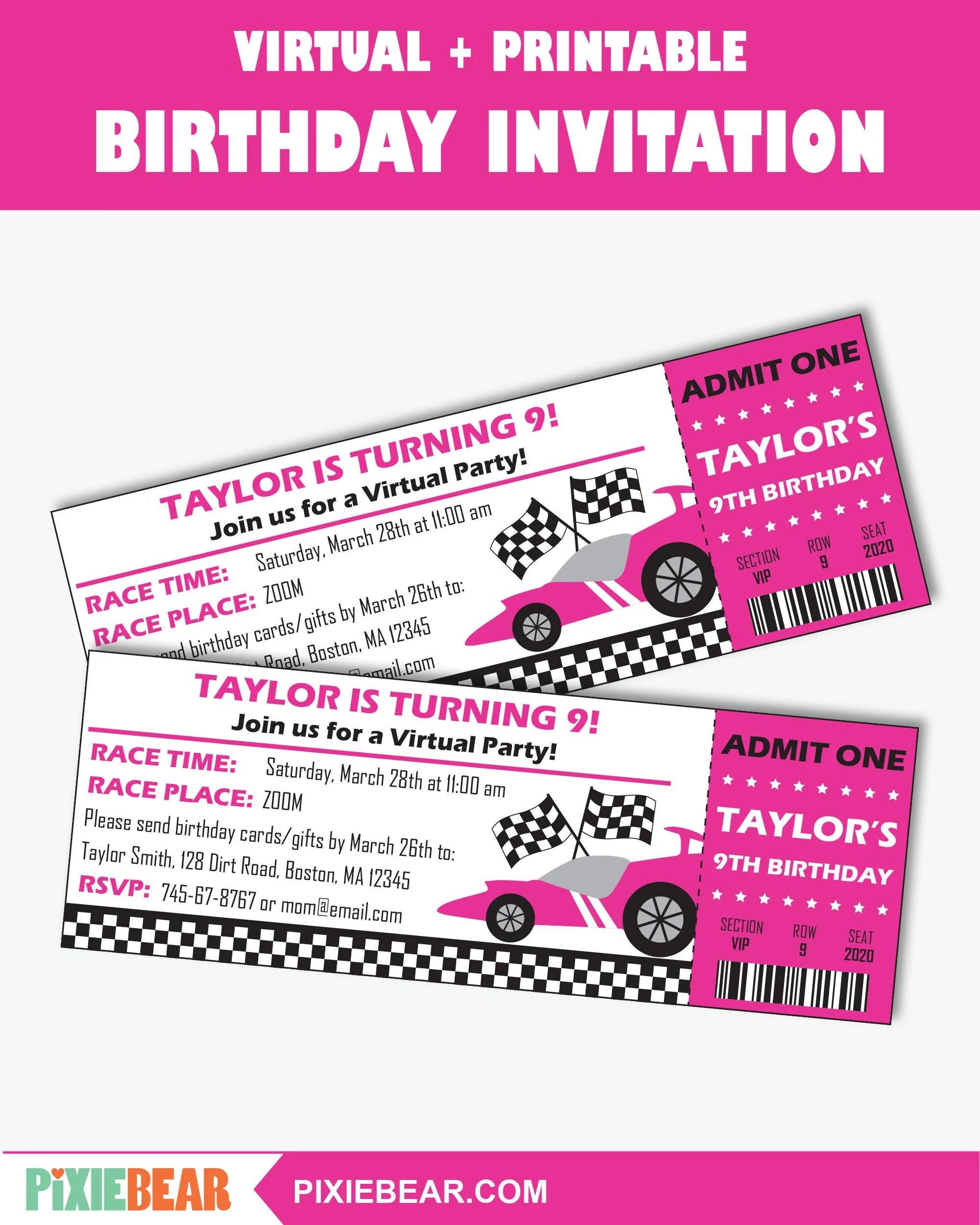 race car party virtual invitation