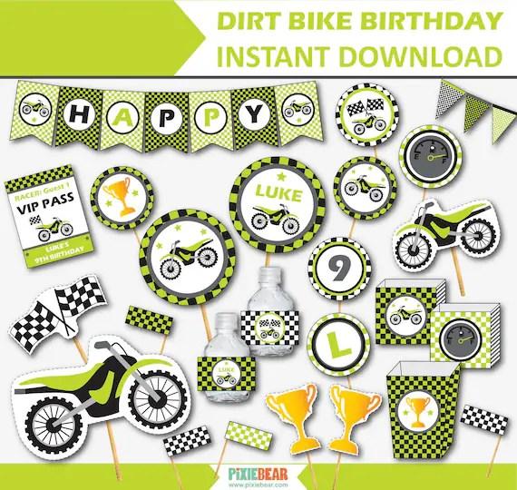 Dirt Bike Birthday Decorations Dirt Bike Party Printables Etsy