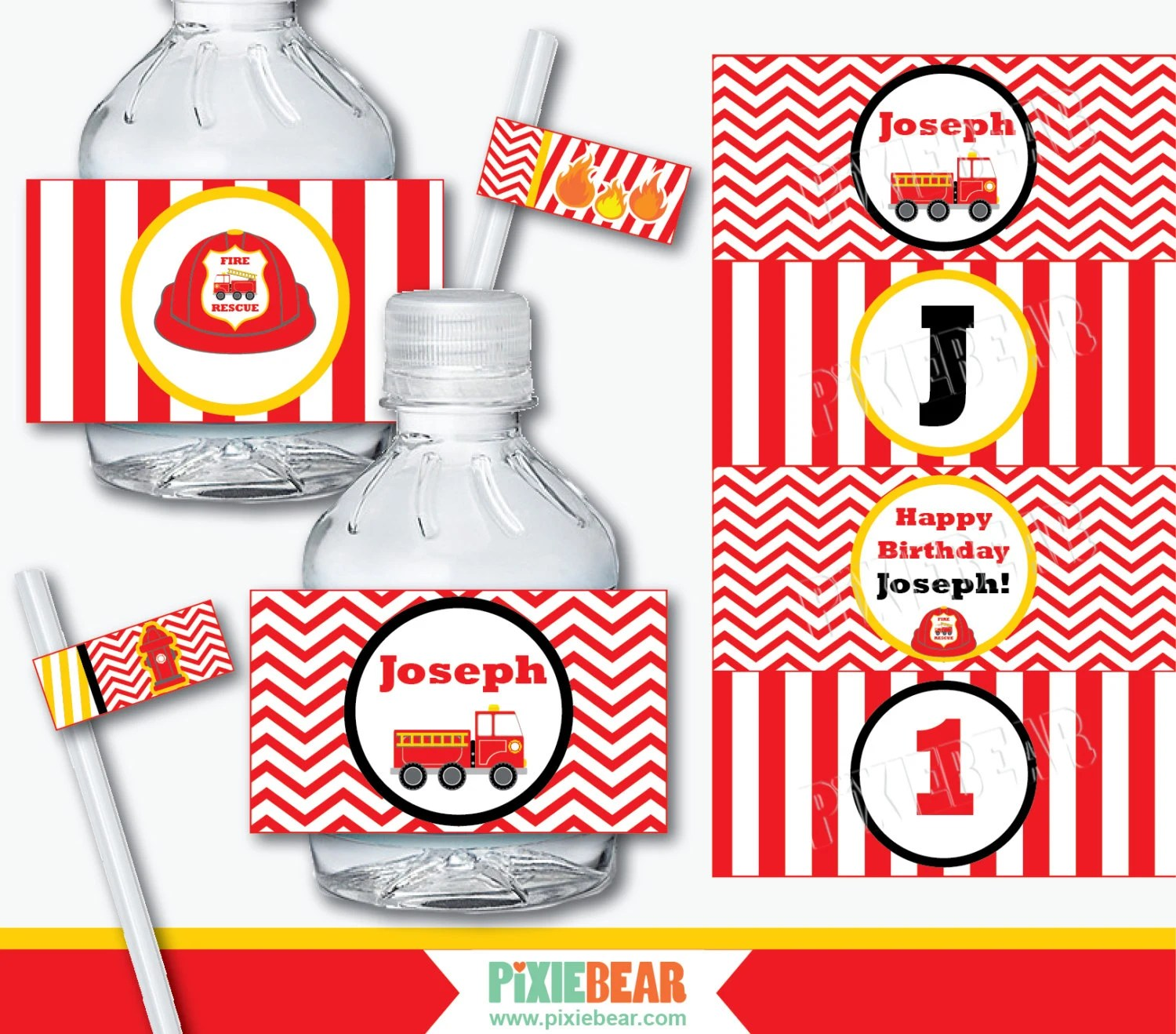 Fire Truck Party Water Bottle Labels Firefighter Birthday