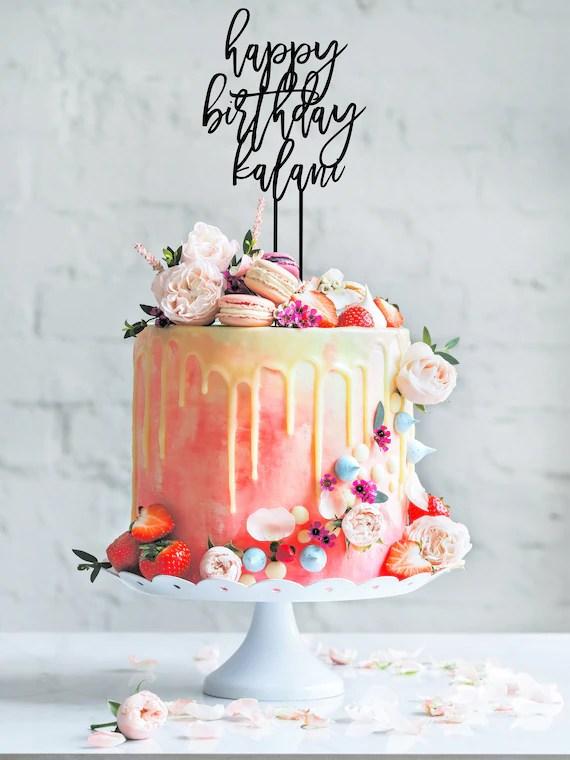 Personalised Birthday Cake Topper Happy Birthday Wood Cake Etsy
