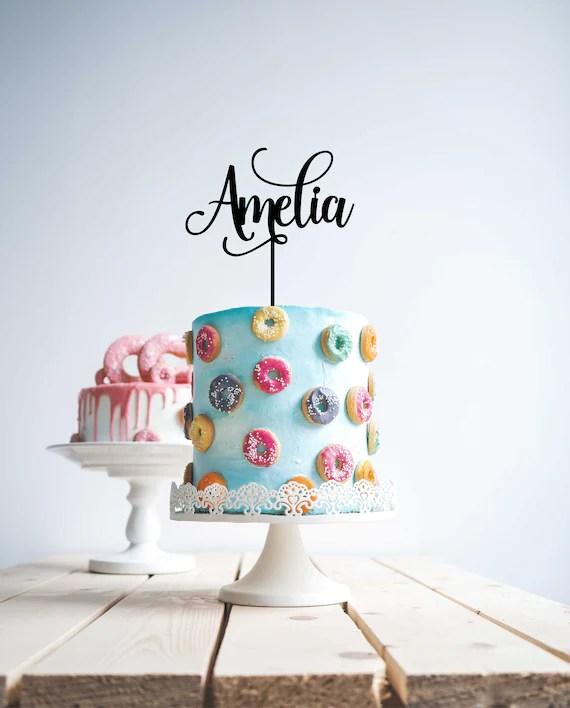 Custom Personalised Name Cake Topper Happy Birthday Cake Etsy