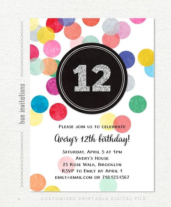 Girls 12th Birthday Party Invitations Silver Glitter Rainbow Confetti Teen Birthday Invite Customized Digital Printable Invitation File