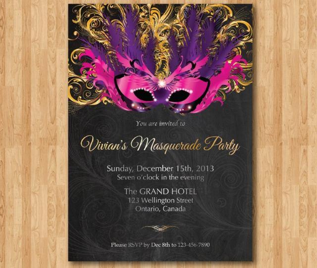 Birthday Invitation Masquerade Party Mardi Gras Invites Sweet  Sixteen Invitation Mask Chalkboard Pink Purple Gold Silver