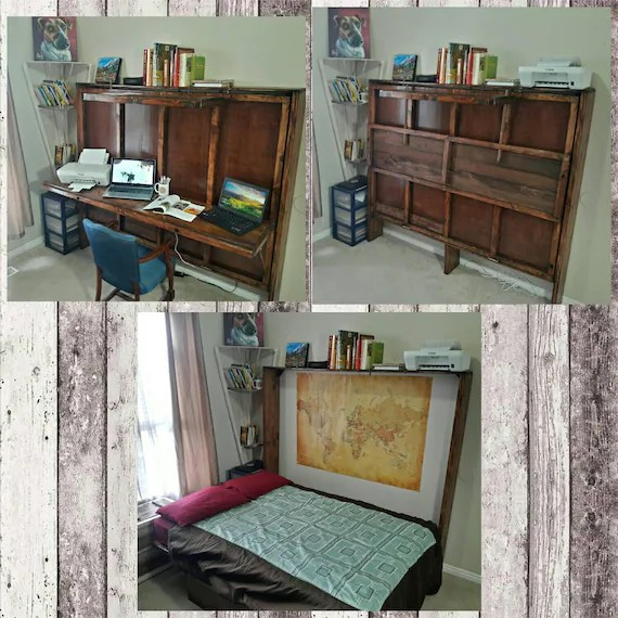 hide a bed desk murphy bed all wood and handmade can customize work from home this price is for a full size message me with questions