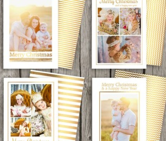Gold Foil Christmas Cards Christmas Card Set Holiday Card Templates Instant Download Diy Christmas Cards For Photographers Cs