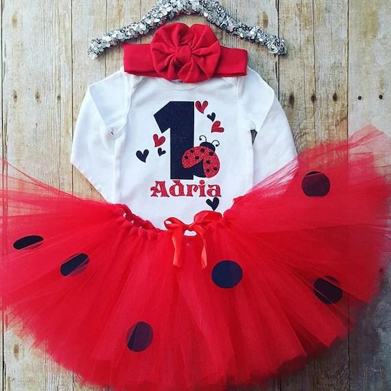 1st Birthday Ladybug Outfit Girls 1st Birthday Ladybug Etsy