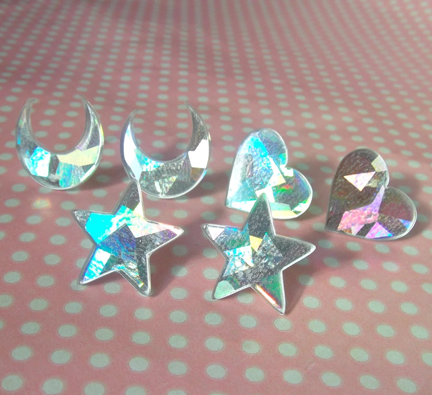 Pastel Holographic Stud Earrings In Moon Star And Heart