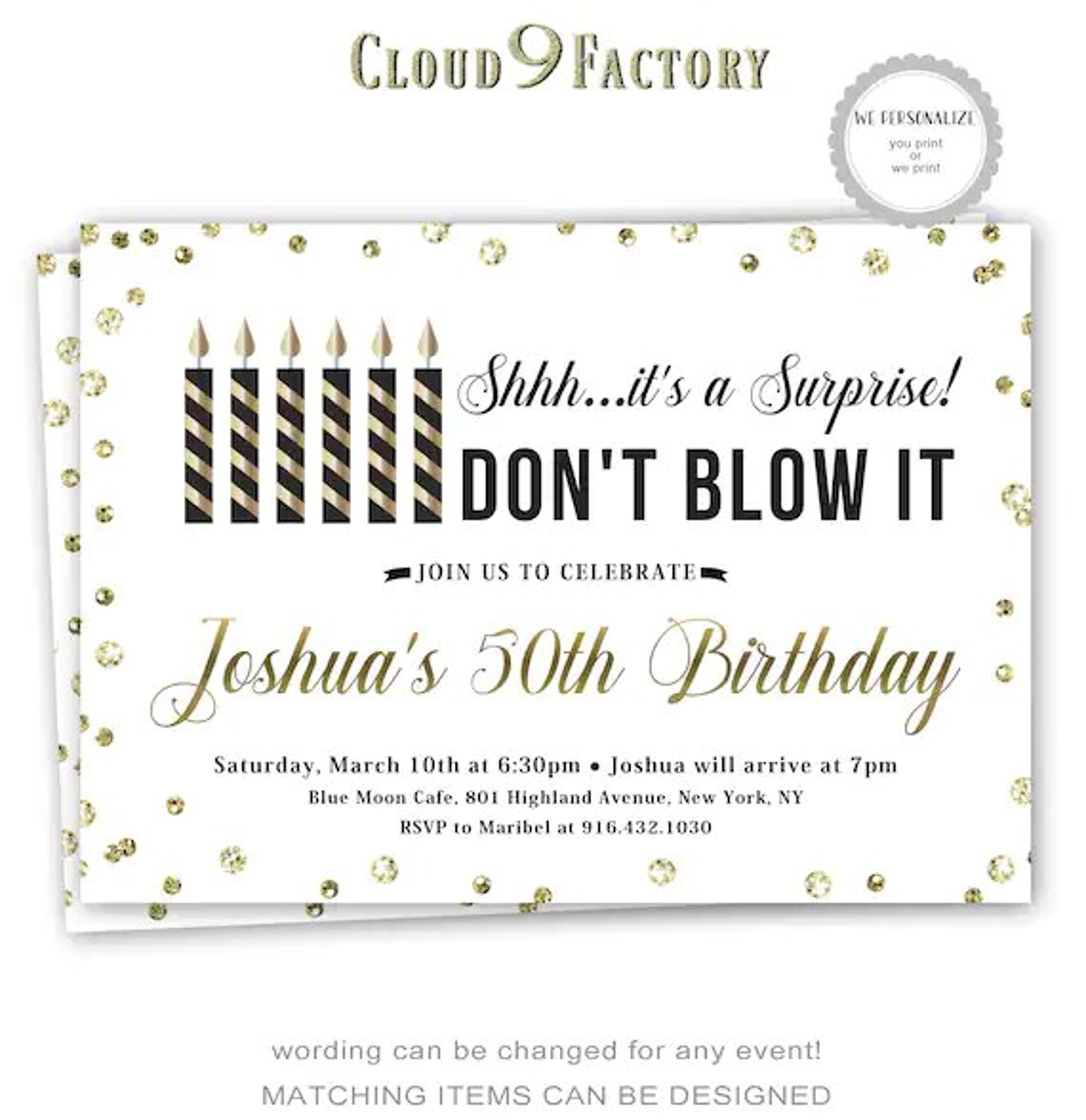 Surprise Birthday Invitations Surprise Party Invites 50th Etsy