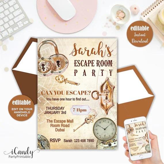 escape room invitation escape room