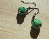 mint green earrings...