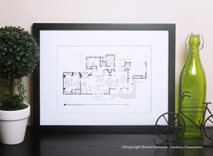 The Dick Van Dyke Show House Floor Plan TV Show Floor Plan   Etsy The Dick Van Dyke Show House Floor Plan   TV Show Floor Plan   Black and  White Poster for Home of Laura and Rob Petrie