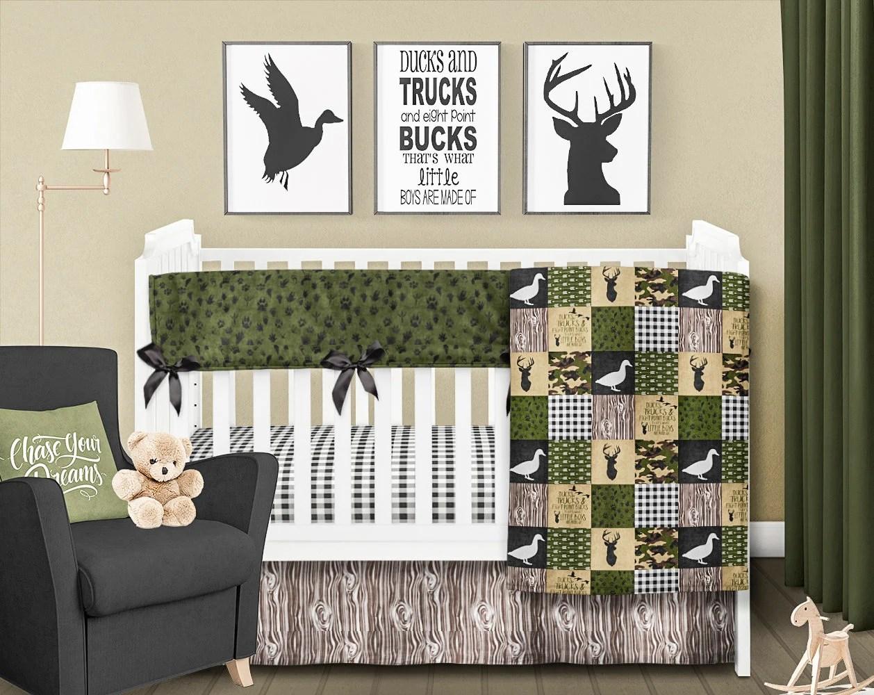 duck baby blanket rustic nursery bedding boy crib bedding set deer crib quilt hunting baby blanket green brown tan baby boy blanket