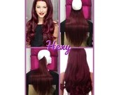 """HALO hair extensions 14"""" #99J Plum Red Wine Flip In Secret Miracle Wire Crown Human Hair or One Piece Clip In Extensions Weave Bespoke Hexy"""