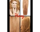 """20"""" long HALO flip in HEXY light Strawberry blonde #27 secret invisible miracle wire one piece human remy hair extensions headband circle"""