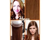 """12"""" long HALO flip in HEXY Light auburn #30 human remy secret invisible miracle wire one piece hair extensions bespoke damage free circle"""