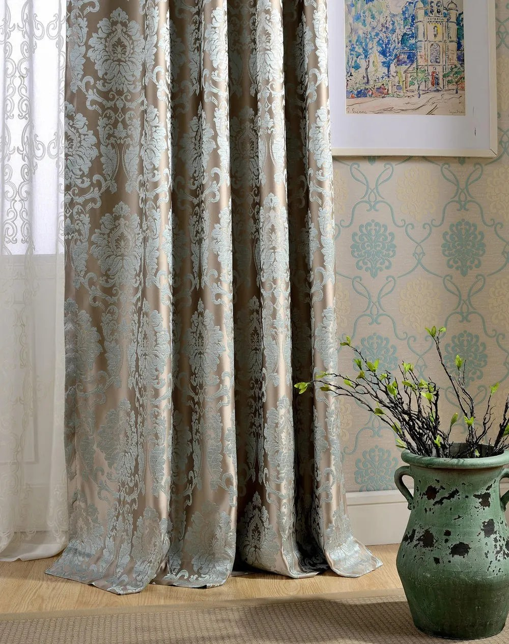 a pair of damask curtains made to order dense jacquard damask polyester blend fabric luxury fabric curtain panel