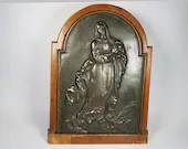 Antique Mounted Bronze Assumption of Mary Magdalene Standing Plaque