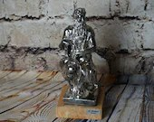 Large Sterling .925 Judaica Statue Moses on Marble Base