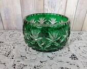 Trinket Candy Nut Bowl Glass Emerald Green Cut To Clear Crystal Bohemian Czech