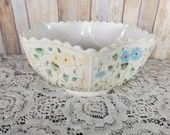 Gorgeous Painted EAPG Antique Milk Glass Tree Of Life Bowl Challinor & Taylor