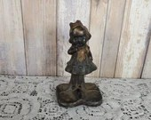 Antique Cast Iron Doorstop Shy Little Girl Bookend Door Stop