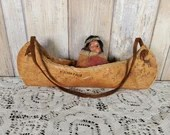 Skookum Indian Doll In Bark Canoe Souvenir Niagara Falls