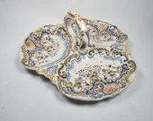 Antique French Fourmaintraux Freres Desvres Faience Separated Relish Tray