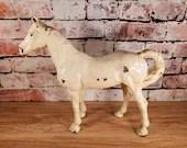 Antique Cast Iron White Enamel Horse Doorstop Door Stop