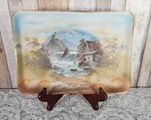 11In Signed Royal Bayreuth Blue Mark Tapestry Dresser Tray Cottage Waterfall Scenic