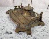 Antique Erhard Sohne Bronze Brass Neoclassical Desk Inkstand Inkwell