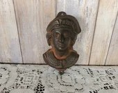 Antique Figural Christopher Columbus Cast Iron Match Safe Holder Striker