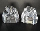 Pair Stunning Hoya Crystal Japan Mikasa Crystal Iceberg Paperweights