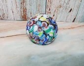 Vintage Millefiori Cane Flowers Murano Satin Art Glass Paperweight Unsigned