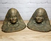 Vintage Antique Cast Iron Bronze Finish Native American Indian Chief Bookends