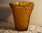 Rare 1934 Art Deco Amber Glass Three Faces Vase by Walther & Sohne