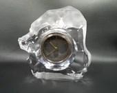Large Hoya Satin Lion Glass Crystal Bulova Alarm Clock
