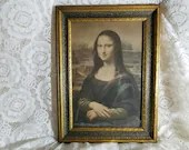 Antique Hand Painted Framed Leonardo da Vinci Mona Lisa