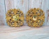 Made in Spain Pair of Rococo Brass Ornate Wall Mount Frames Plaques