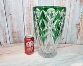17lb Glass Emerald Green Flashed Cut To Clear Vase Bohemian Czech