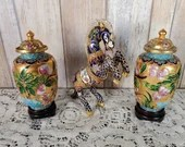 Beautiful Cloisonne and Enamel Rearing Horse Pony with 2 Vases Set