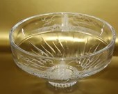 Lenox Crystal Etched Lighthouse Large Bowl Beach Scene