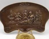 Vintage Bronze Art Nouveau Tray Plaque Cherubs Maiden Garden