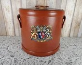 MCM Kraftware Ice Bucket Chest Crest Shield Lion Brown Barware 1960