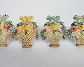 Set of 4 Hubley Cast Iron Flower Basket Curtain Tiebacks
