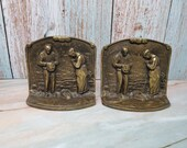 Antique BronMet Cast Iron Bookends of The Angelus by Jean Francois Millet