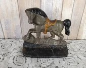 Antique Uncommon Saddled Cast Iron Performing Horse Pony Doorstop Bookend