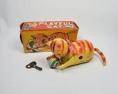 Vintage Japan Tin Litho Celluloid Wind Up Toy Roll Over Playful Cat with Box
