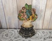 Antique Cast Iron Doorstop Mixed Flowers In Vase Or Urn on Pedestal