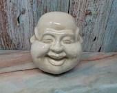 White Glaze Pottery Ceramic Tibetan 4 Face Emotions Buddha Head 5 Inch
