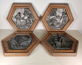 Set of 4 Zinn Handarbeit Pewter Oak Frame Octagon Seasons Plaques